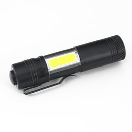 Wholesale Pen Drive Light - Pen Light 4 Modes Portable Mini LED Flashlight Torch XPE LED+COB LED Flashlight 800LM Hunting Camping Light By AA 14500 Battery
