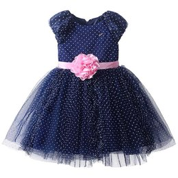 Wholesale Navy Blue Girls Tutu Dresses - Pettigirl Fashionable Navy Girls Ball Gown Dresses Decorated With Pink Belt Elegant Kids Dresses With Retail Baby Clothing DMGD81016-21Y