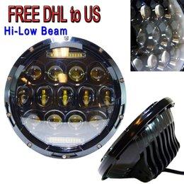 Wholesale Cj Free - New 7 Inch 75W LED Headlight w  Driving Fog Lights for Jeep Wrangler JK LJ CJ DHL Free shipping