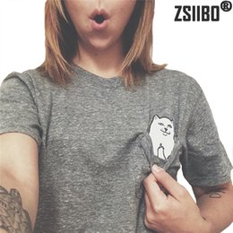 Wholesale Women Shorts Cheap - ZSIIBO Brand Pocket cats t-shirts for women Fashion cheap cat t shirt short sleeve Funny Cat in pocket plus size tops WT09 WR