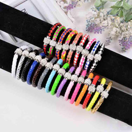 Wholesale Heart Magnetic Beads - Daily Deals! PU Leather Bracelet For Women Handmade Fit White Crystal Shamballa Bead magnetic snap Bracelet Mixed Color