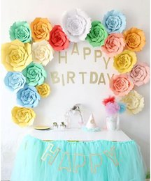Wholesale wall paper mirror - New 2pcs 20cm DIY Paper Flowers Kids Birthday Party Backdrop Decor Wedding Party Hen Party Home Room Decor Supplies