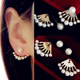 Wholesale Dragons Ear Cuff Stud Earrings - Top Quality Fashion European and American Small Imitation Pearl Earrings Dragon Hand Ear Cuff Ear Stud New Free Shipping [JE06562*24]