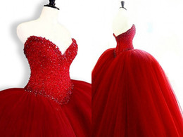 Wholesale Masquerade Ball Cheap Dresses - Masquerade Ball Gowns Red Quinceanera Prom Dress Cheap 2018 Sweetheart Pearls Crystal Beaded Tulle Long Corset Sweet 16 Girls Dresses