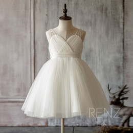 Wholesale christmas printing pictures - 2018 Ivory Junior Bridesmaid Dress, Mesh Beading Strap Flower Girl Dress, Puffy dress knee length