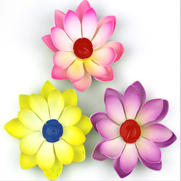Wholesale Birthday Wedding Wishes - 7 Color Mix Order 15CM Dia Artificial EVA Lotus Flower Candle Lamp Floating Water Wishing Night Lights For Birthday Wedding Party Decoration