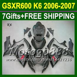 Wholesale Gsx R Matte Black - 7gifts+CowlOf SUZUKI GSXR600 Matte black K6 06 07 2006 2007 GSXR-600 GSX-R600 P3685 GSXR 600 06-07 Free Customized ALL Flat black Fairing