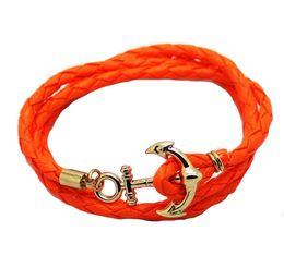 Wholesale Leather Fish Hook Bracelet - 7 Color Anchor Charm Bracelets Colorful PU Leather Wrap Infinity Bracelet Men Women Couples Wristband Fish Hooks Bangle Lover Jewelry Y086
