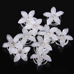 Wholesale Swirl Wedding Hairpins - Wholesale 20 x Rhinestone Diamate Crystal Wedding Bridal Hair Spin Pins Twists Coils white resi Flower Swirl Spiral Hairpins Fashion Jewelry