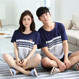 Wholesale Womens Pajamas Shorts Set - In the summer of men and women knitted pajamas modal short sleeved T-shirt and Shorts womens Jane Home Furnishing suit