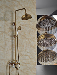 2019 robinet de douche à double poignée Robinets de douche de pluie en gros et au détail avec baignoire en laiton antique avec pommeaux de douche de 8 pouces + douchette à main