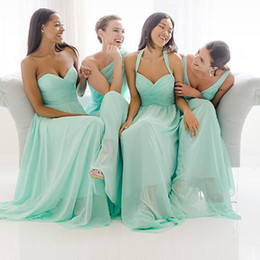 Wholesale Turquoise One Shoulder Bridesmaid Gowns - 2015 Turquoise Chiffon Bridesmaid Dresses Different Mix Styles Mint Green Cheap Long Maid of Honors Plus Size Beach Garden Formal Prom Gown