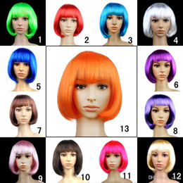 Wholesale Girls Bob Wigs - New fashion Bob wig dance cosplay party wig Synthetic Fiber Short Blonde Bob Wigs for Women candy colors