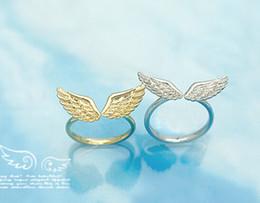 2019 mayoristas de piedra Venta al por mayor - nz16 17 mm tamaño Moda coreana Venta al por mayor Pequeñas alas de ángel brillante Color de la moda clásica Anillo de oro y color plata