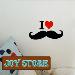 Wholesale Product Menu - Vinyl Wall Decal I love Mustache Wall Decal Menu new products for 2013 wall sticker for home 18*30CM Free shipping