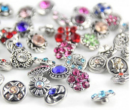 Wholesale Metal Snake Chain Necklaces - Hot wholesale 100pcs lot High quality Mix Many styles 12mm Metal Snap Button Charm Rhinestone Styles Button Ginger Snaps Jewelry FF