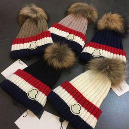 Wholesale Mink Balls - High Quality MON Brand Mink Fox Fur Poms Ball Acrylic Beanies Winter Warm Plain Hats Adults Slouchy Mens Womens Snow Warm Hat Christmas