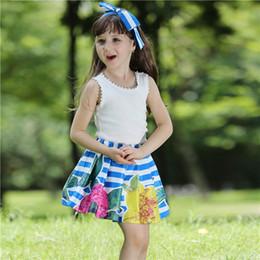 saia laço t shirt miúdos Desconto Pettigirl Retail New Lace Crianças Conjunto De Roupas Com T-Shirt E Saia Stripe Imprimir Floral Crianças Roupas de Verão Meninas CS80828-129F