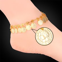 Wholesale platinum gold coins - Women 18K Real Gold Platinum Plated Cute Queen Coins Charms Adjustable Fancy Ankle Chain Bracelets Anklets