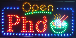 "lojas grossistas de alimentos Desconto 32 ""x16"" POP carne sopa de macarrão vietnamita restaurante aberto LED loja sinal neon Pho"