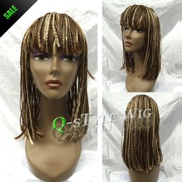 Wholesale Medium Length Straight Hair Wigs - Hot Sale Medium length synthetic braiding hair full wig, Hand braided wigs for black women