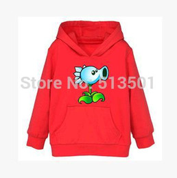Wholesale Thick Black Girl Clothes - Wholesale-winter thick cotton Plants vs Zombies jacket Long Sleeve jacket , Boys& girls Clothes plants vs Zombies fleece jacket 2-9yrs