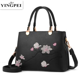 Wholesale Quality Chinese Cell Phones - Peach Blossom Fashion Women Shoulder Bag Vintage Pint Ladies Handbag Casual High Quality Top-handle Bags Sac
