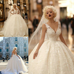 Wholesale full ball gowns - Luxurious Empire Ball Gown Wedding Dresses 2017 V Neck Sheer Strap Full Lace Appliques Sexy Backless Sweep Train Long Bridal Gowns BA7142