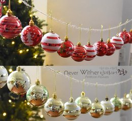 Wholesale Blue Baubles - Round Christmas Decorations For Home Xmas Tree Decorations Christmas Ball Baubles Party Wedding Hanging Ornament 6cm G1085