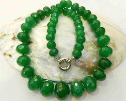"""Wholesale Natural Jade Faceted Beads Necklace - 10-18mm Natural Emerald Faceted Gems Roundel Beads Necklace 18.5"""""""
