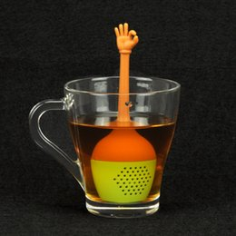 Wholesale Tea Bags For Sale - 5pc set Hot Sale gesture Tea Bags Strainers Silicone Teaspoon Filter Infuser Silica Cute Teabags for Tea & Coffee Drinkware free ship LY