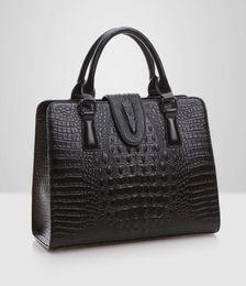 Wholesale Pattern Lock - High quality Genuine leather bag ladies crocodile pattern Women messenger bags handbags women famous brand designer