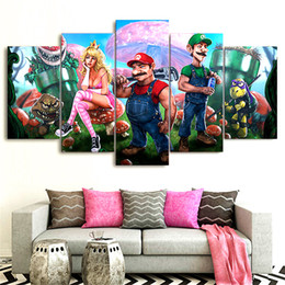 Wholesale nude figure art - Cartoon Super Mario Game ,5 Pieces Home Decor HD Printed Modern Art Painting on Canvas   Unframed   Framed