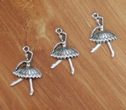 Wholesale Wholesale Ballerina Charms - Ballet Ballerina Dancer Charms Pendant Silver Plated 2 Sided 20*33mm TS437 pendant pin pendant clock