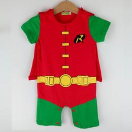 Wholesale Robin Halloween Costumes - Infant Baby Toddler Boys Robin Romper Costume Superhero Halloween Short Sleeves Summer