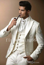 Wholesale High Quality Tuxedos - Embroidered Peak Lapel One Button White High quality Groom Tuxedos Suit Wedding Men's suits (Jacket+Pants+Tie+kerchief+Vest) 75