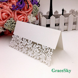 Wholesale Leaf Ornaments Wholesale - 50X FreeShipping laser Cutting Wedding Invitation Party Decorations Laser Cutting Place Seat Name Card Lace Leaf Design Paper Table Decor