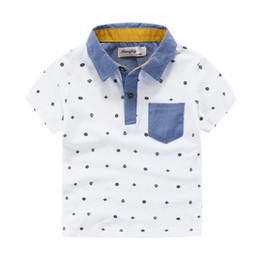 Wholesale Knit Shirt Children - Hot! boys Polo shirts short sleeve quality Brand applique collar anchor pinrt cotton boy knitted Polos Children clothing Kids 3-8years
