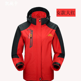 Wholesale Waterproof Hunting Clothing For Men - 2016 Red Winter Hiking Softshell Jackets Warm Windbreakers Windproof Outdoor Camping Hunting Clothes for Man Lady New Design Coat with Hats