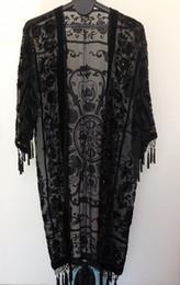 Wholesale Free Fringe - Free Shipping-Beaded Velvet Tassel Fringe Long Coat - Crown -Black