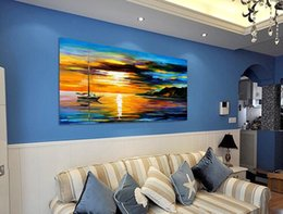 Wholesale Landscape Ocean Oil Painting - ocean sailing handp painted oil color thick canvas painting high quality contemporary sitting room adornment art murals JL049