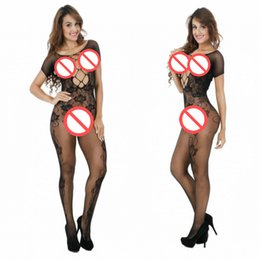 Wholesale Nylon Bodystockings - Hollow women sexy lingerie hot Open Crotch bodyStockings mesh Fishnet short sleeve erotic Lingerie sexy costumes