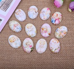 Wholesale Oval Cameo Glass - Wholesale 100pcs lots Mixed Color Lovely Angle Oval Glass Cabochon Dome Jewelry Finding Cameo Pendant Settings