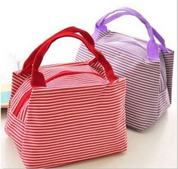 Wholesale Kids Canvas Lunch Bags - Waterproof stripe lunch bag High quality fabric lunch tote for women kids stripe lunch bag