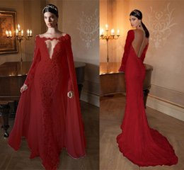 Wholesale Pearl Pink Celebrity - 2016 Sexy Red Lace Mermaid Evening Dresses With Detachable Cape Deep V Neck Sheer Back Long Sleeve Court Train Formal Gowns Celebrity Dress