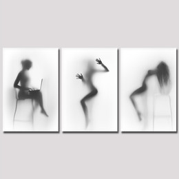 Wholesale Naked Oil Painting Women - Black And White Wall Art , Sexy Nude Women Painting Picture Print on Canvas Naked Girl in the Shower Artwork for Bedroom Wall