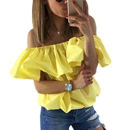 Blusa suelta de mariposa online-Blusa de gasa de mujer Blusa de volantes de verano de 2017 Top de hombro Blusa de mujer de color caramelo de manga casuales suelta