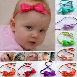 Wholesale Princess Things - Sweet Girls mini bow Flower baby headband Fashion Princess elastic Headbands cute Kids Hair Things Childrens Hair Accessories 50pcs lot