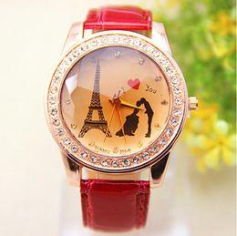 dia barato presente Desconto Venda Barato China Fez Luxo Paris Tour Eiffel Amantes de Diamante Relógios De Pulso Relógios De Pulso Para As Mulheres Presente Do Dia Dos Namorados