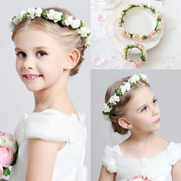 wedding hair accessories flower girl Promo Codes - 2016 Hot Wedding bridal girl head flower crown Headband Pink White rattan garland Hawaii flower One piece Headpieces Hair Accessories